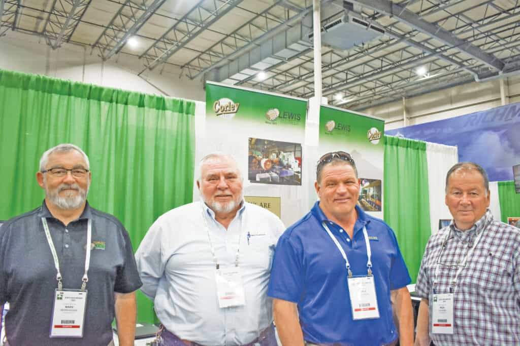 Marv Bernhagen, Corley Mfg. Co., Cornelius, OR; Jim Burris and Doyle Kitchings, Corley Mfg. Co., Chattanooga, TN; and Rick Gerard, RG Sawmill Equipment Inc., Elmira, NY