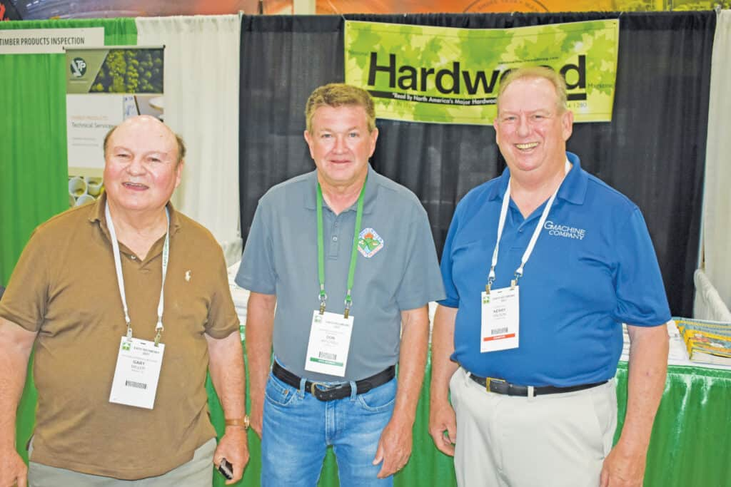 Gary Miller, National Hardwood Magazine, Memphis, TN; Don Mitchell, Meherrin River Forest Products Co., Crewe, VA; and Kerry Wilson, GF Smith Co. LLC, Portland, OR