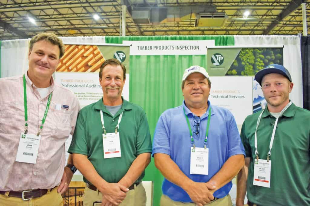 John Evans, Ontario Hardwood Co. Inc., Keysville, VA; Ron Steele, Timber Products Inspection, Peach Tree City, GA; Scott Scruggs, Drakes Branch Manufacturing, Drakes Branch, VA; and Blake Hinton, Timber Products Inspection, Hobgood, NC