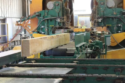 Cutting Denali Cedar flitches at Oregon Industrial Lumber Products' Twin Band Resaw.