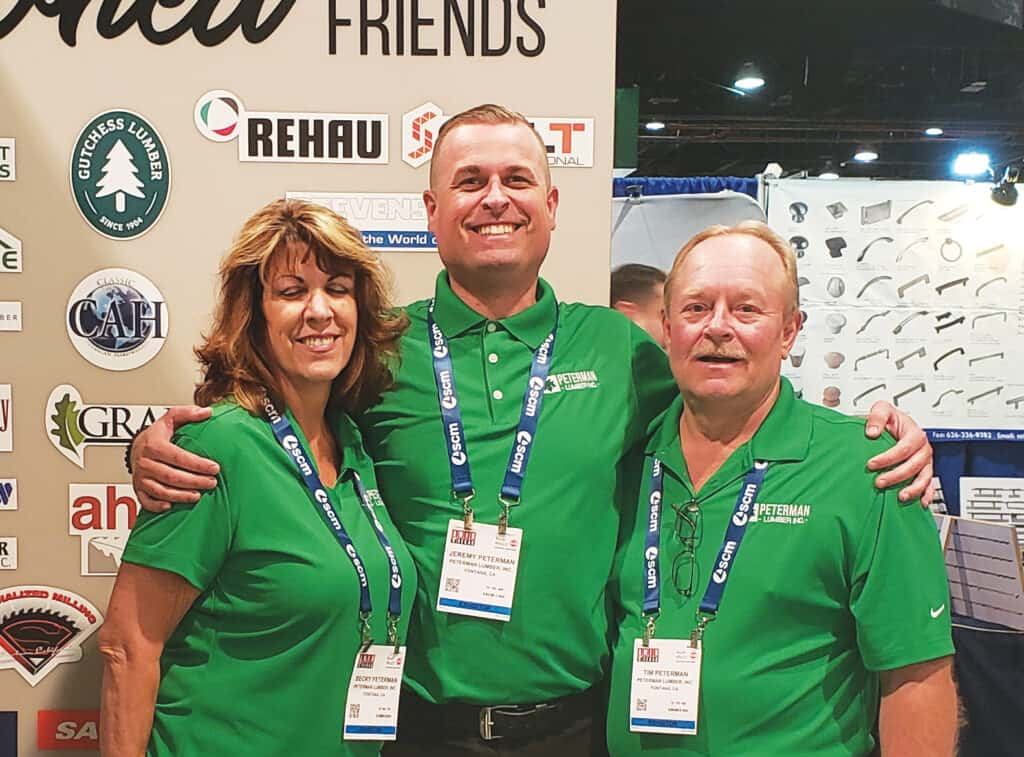 Becky, Jeremy and Tim Peterman are among the three generations involved in the continuing operation of Peterman Lumber Co., of Fontana, CA, which purchases approximately 6 million board feet of Hardwood lumber annually.