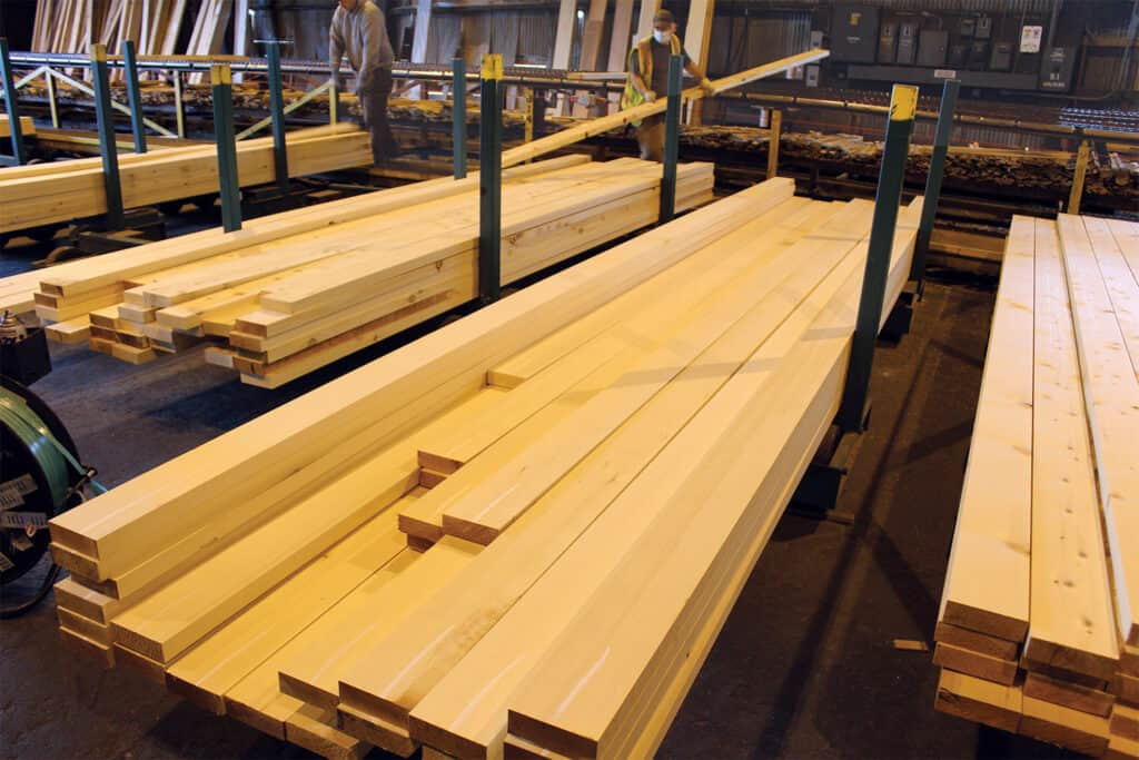 Denali Cedar 2x6 being blanked and sorted at Planer.