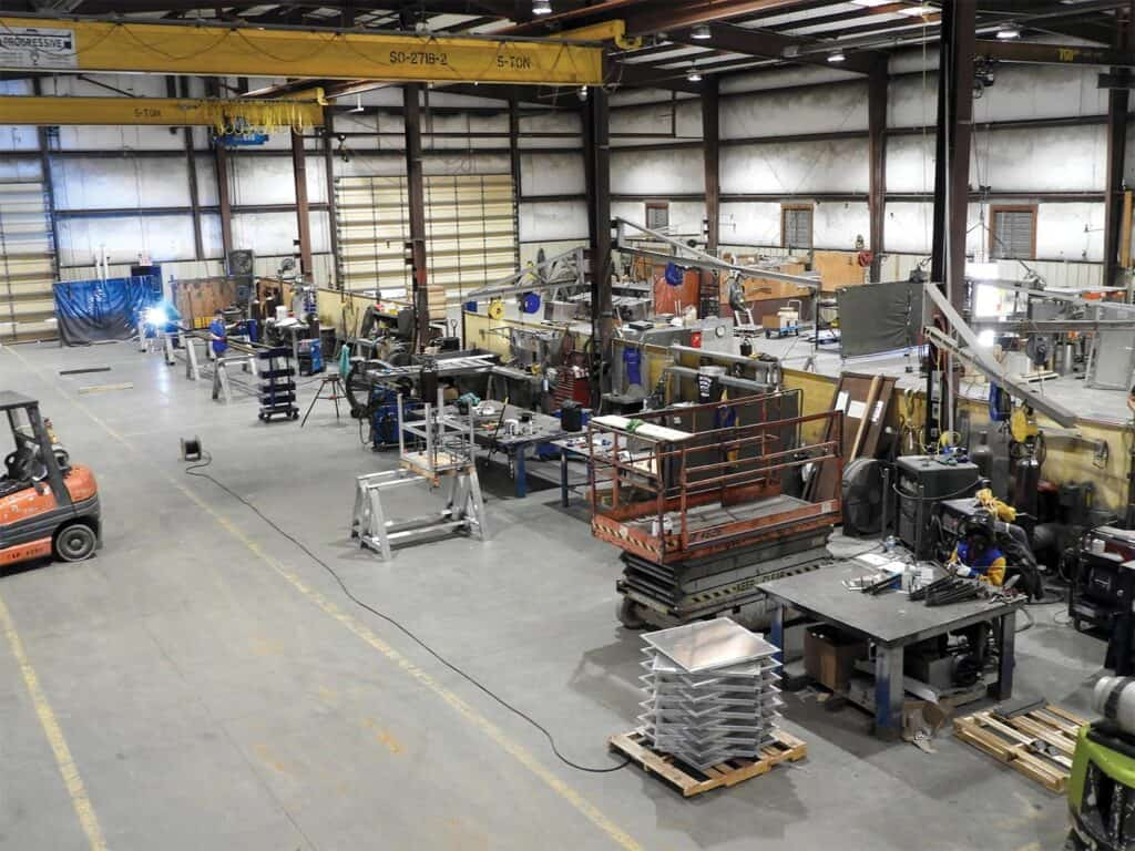 SII's spacious welding shop is where fabrication of dry kilns is accomplished.