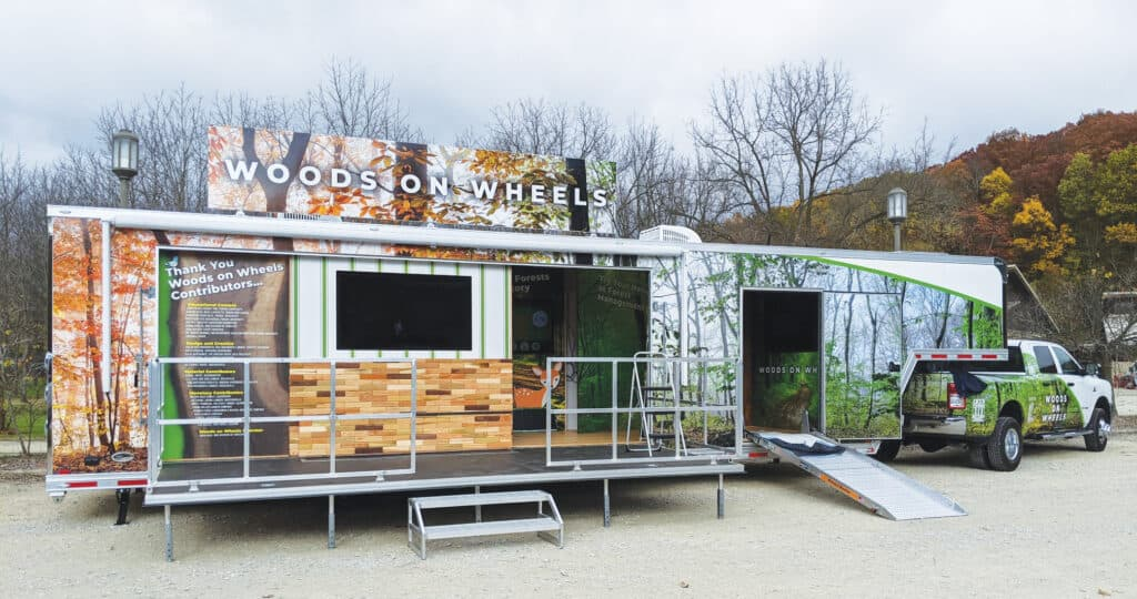 The Woods on Wheels mobile education classroom started its engine in April of 2021, and has barely stopped moving since, spreading positive messaging and the truth about woods economic and environmental advantages.