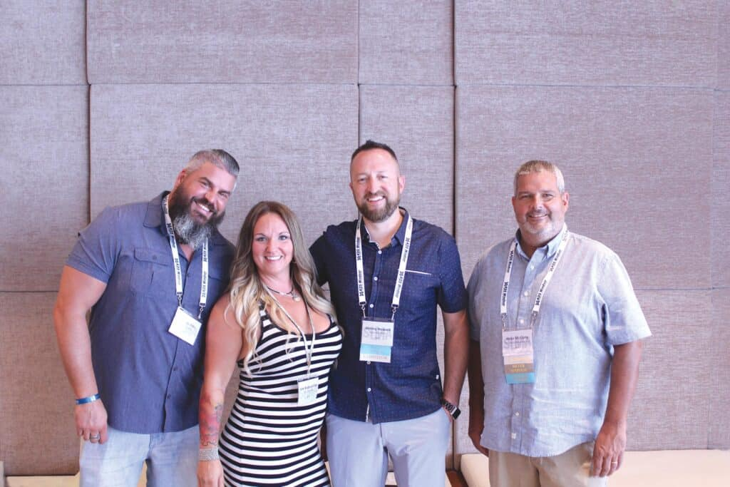 Jeremy and Kim Pitts, Nyle Systems LLC, Lenoir, NC; Jeremy Howard, Nyle Systems LLC, Brewer, ME; and Peter McCarty, TS Manufacturing Co., Dover-Foxcroft, ME