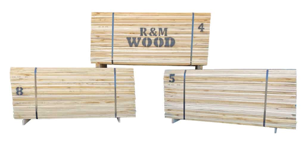 Double-end trimmed 5/4 FAS White Oak with the company logo stands ready for shipment.