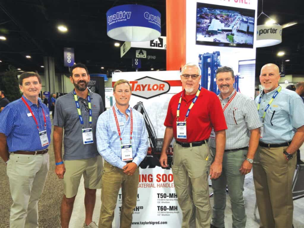 Barry Black, Taylor Machine Works Inc., Louisville, MS; Chris deMilliano, Steely Lumber Co. Inc., Huntsville, TX; Wade Amick, Big Red Inc., Chapin, SC; Patrick Ricks, Mission Forest Products, Corinth, MS; and Robert Taylor and Tim Gerbus, Taylor Machine Works Inc