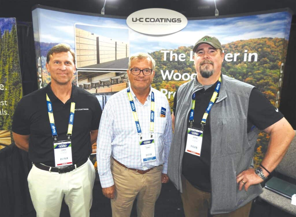 Chris Fehr, U-C Coatings LLC, Buffalo, NY; Tommy Battle, Battle Lumber Co. Inc., Wadley, GA, and Steve Anderson, U-C Coatings LLC, Portland, OR