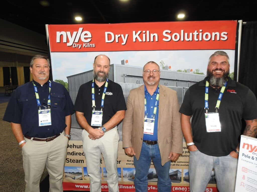 Ricky Stanley, T.R. Miller Mill Co. Inc., Brewton, AL; Bryan Smalley, Southeastern Lumber Manufacturers Association Inc., Tyrone, GA; and Henco Viljoen and Jeremy Pitts, Nyle Systems LLC, Brewer, ME