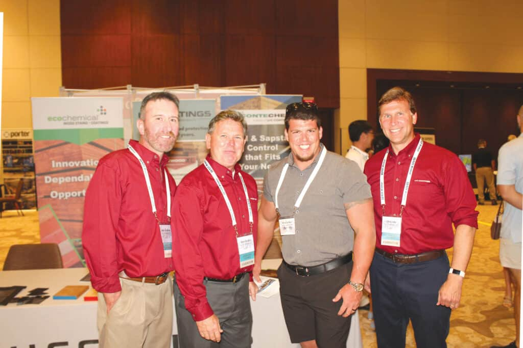Jason Goodman and Dave Sondel, U-C Coatings LLC, Buffalo, NY; Vince Jordan, Jordan Lumber & Supply Inc., Mt. Gilead, NC; and Chris Fehr, U-C Coatings LLC