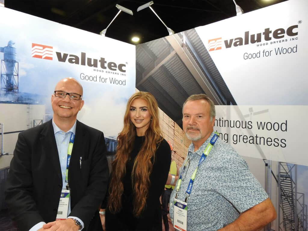 Ingo Wallocha, Valutec Wood Dryers Inc., Vancouver, BC; Devin Harsin, Valutec Wood Dryers Inc., Auburn, AL; and Terry Miller, The Softwood Forest Products Buyer, Memphis, TN