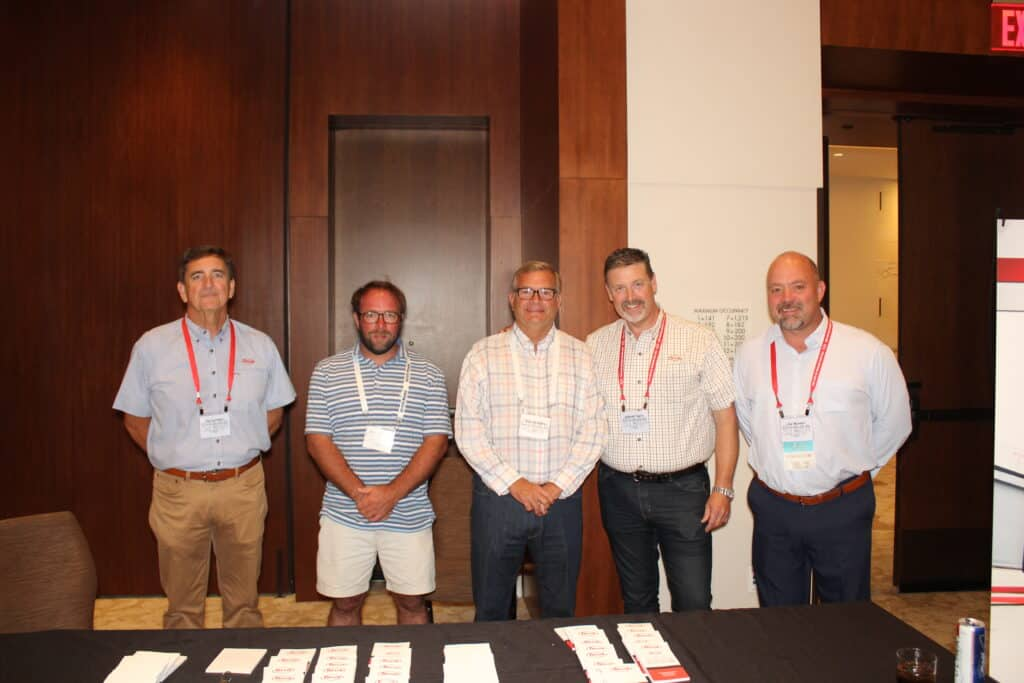 Barry Black, Taylor Machine Works Inc., Louisville, MS; Michael Gulley, Dempsey Wood Products Inc., Orangeburg, SC; Tommy Battle, Battle Lumber Co. Inc., Wadley, GA; and Robert Taylor and Hal Nowell, Taylor Machine Works Inc.
