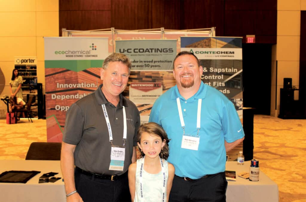Dave Sondel, U-C Coatings LLC, Buffalo, NY; and Madi- syn Hennessy and Phil Hennessy, UFP Industries Inc., Atlanta, GA