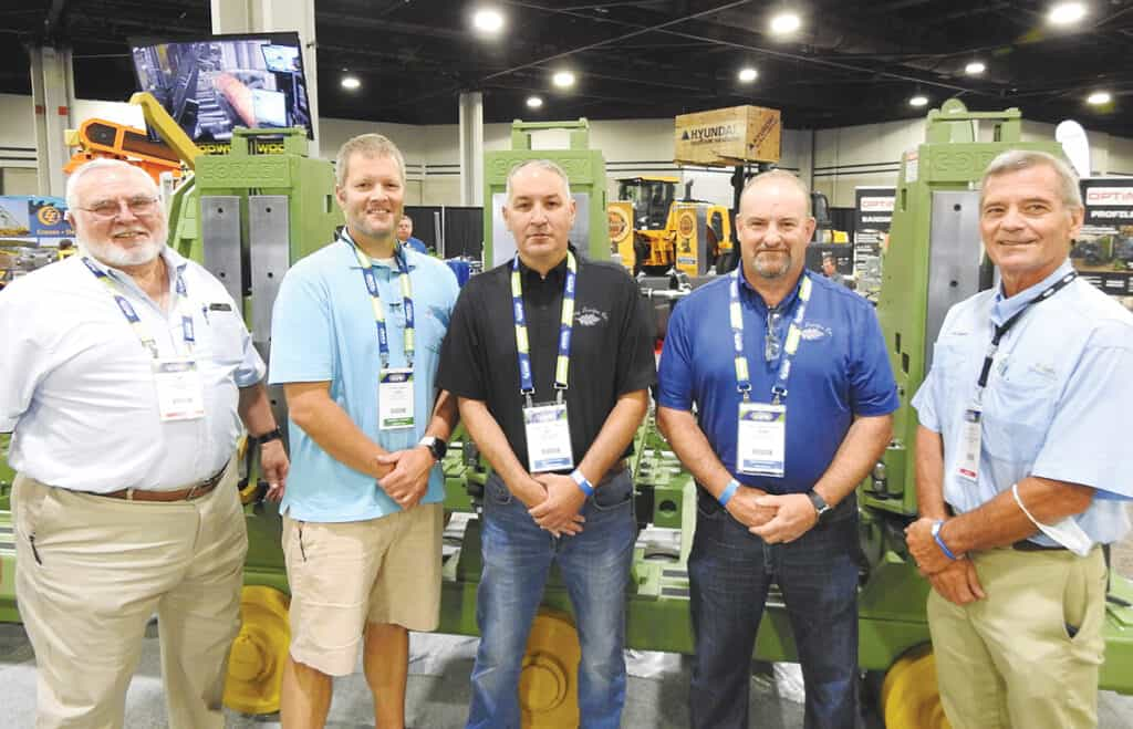 Jim Burris, Corley Mfg. Co., Chattanooga, TN; Jess Parton, Ben Parton and Dean McCurry, Gilkey Lumber Co. Inc., Rutherfordton, NC; and Chuck Boaz, Corley Mfg. Co.