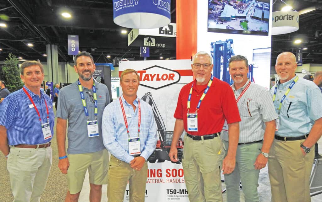 Barry Black, Taylor Machine Works Inc., Louisville, MS; Chris deMilliano, Steely Lumber Co. Inc., Huntsville, TX; Wade Amick, Big Red Inc., Chapin, SC; Patrick Ricks, Mission Forest Products, Corinth, MS; and Robert Taylor and Tim Gerbus, Taylor Machine Works Inc.