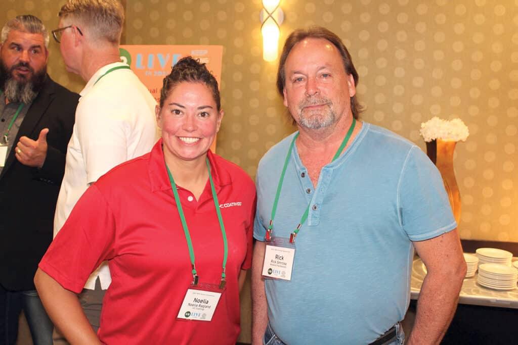 Noelia Ragland, U-C Coatings LLC, Seattle, WA; and Rick Smrcka, Midwest Hardwood Corp., Maple Grove, MN