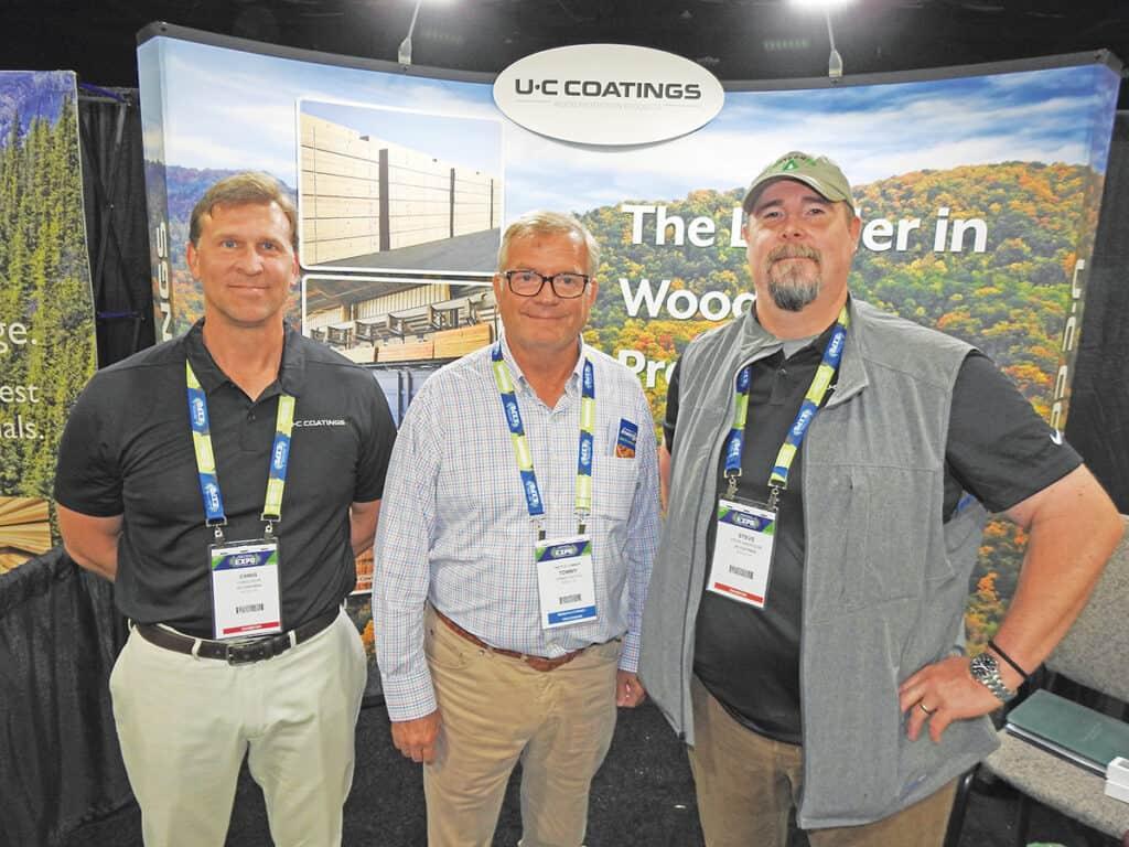 Chris Fehr, U-C Coatings LLC, Buffalo, NY; Tommy Battle, Battle Lumber Co. Inc., Wadley, GA; and Steve Anderson, U-C Coatings LLC, Portland, OR