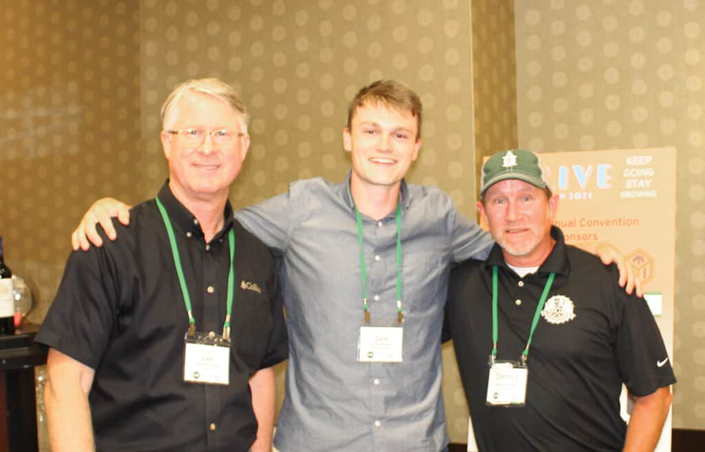Lee Jimerson, Collins, Wilsonville, OR; Zack Halsey, Patrick Lumber Co., Portland, OR; and Dennis Sanders, Patrick Lumber Co., Philomath, OR